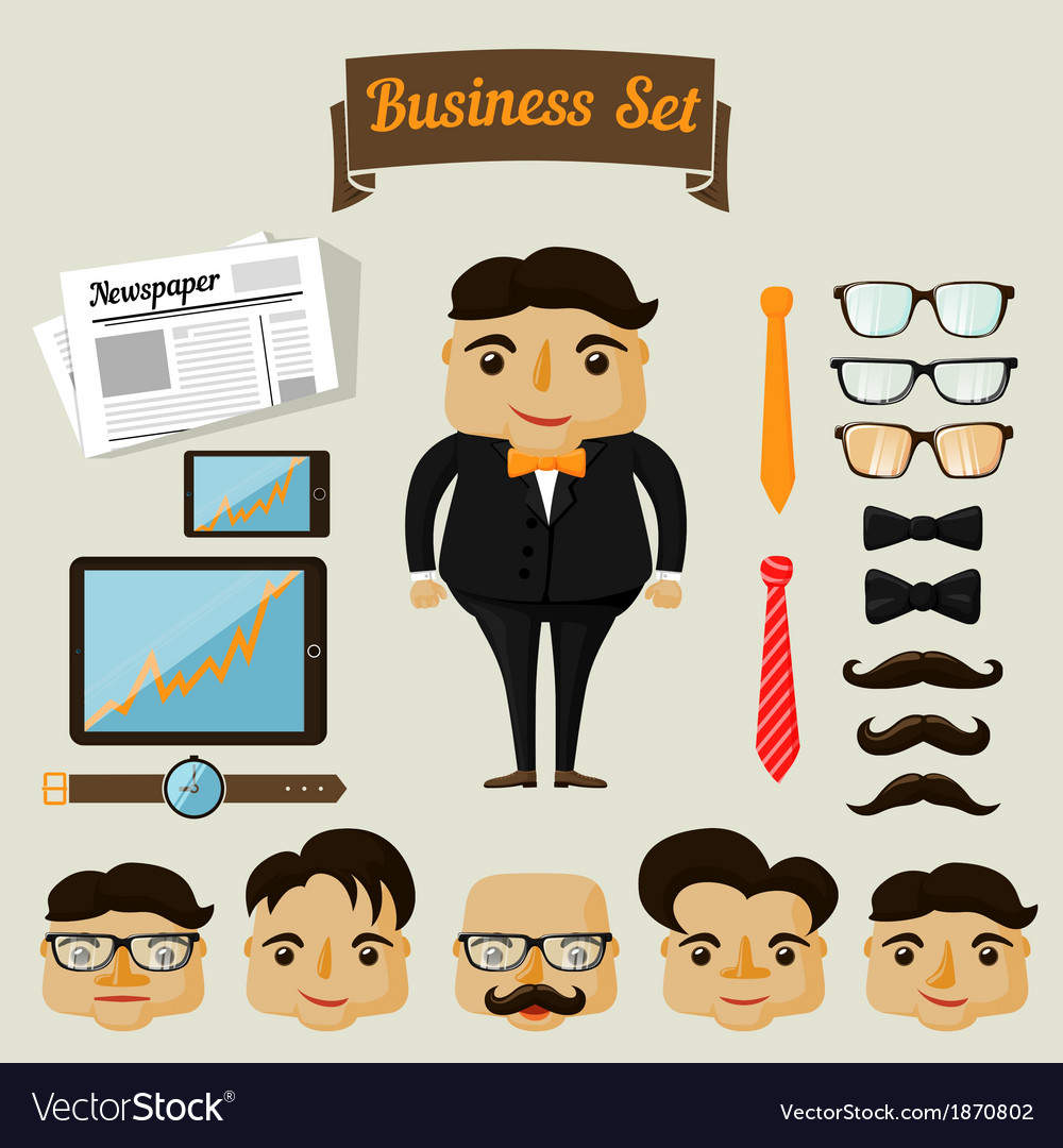 Hipster character elements for business man vector | Price: 1 Credit (USD $1)