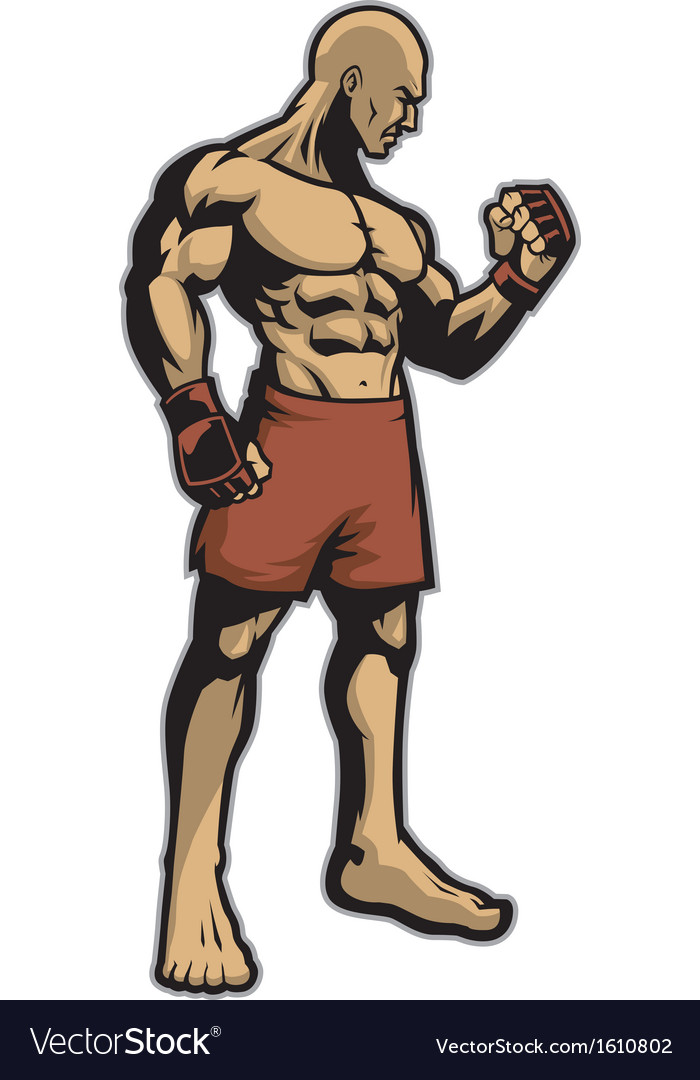 Muscle fighter standing vector | Price: 1 Credit (USD $1)