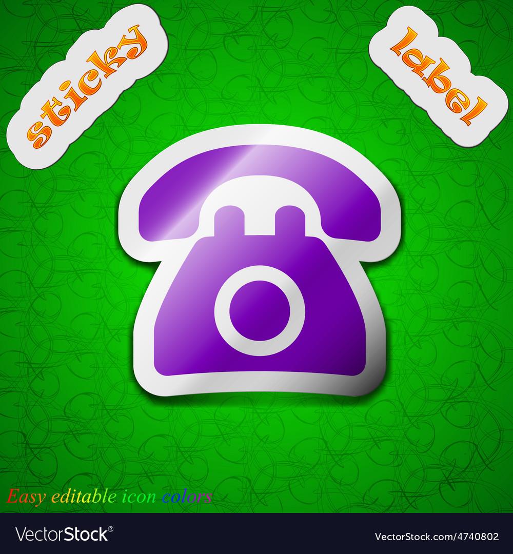 Retro telephone icon sign symbol chic colored vector   Price: 1 Credit (USD $1)
