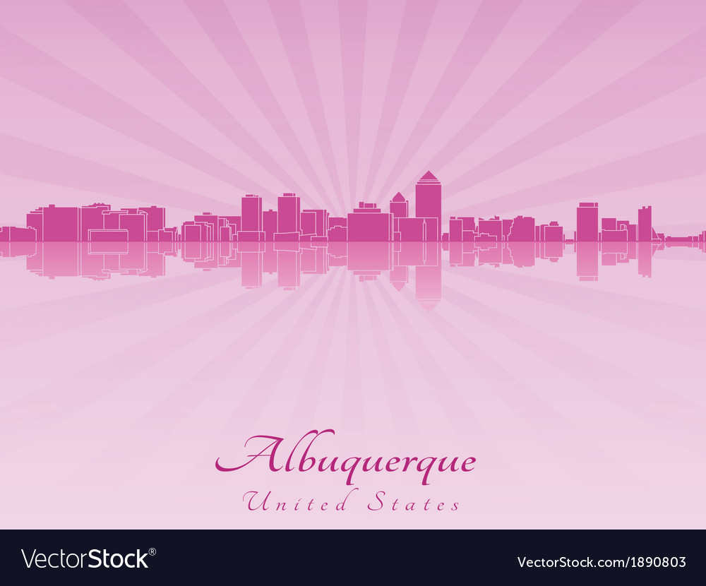 Albuquerque skyline in radiant orchid vector | Price: 1 Credit (USD $1)