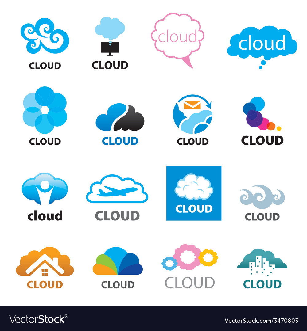 Big set of logos cloud vector | Price: 1 Credit (USD $1)