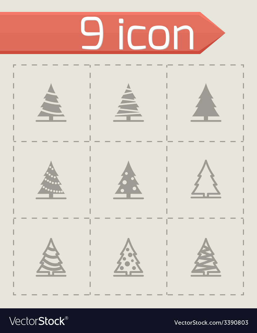Black christmas tree icon set vector | Price: 1 Credit (USD $1)