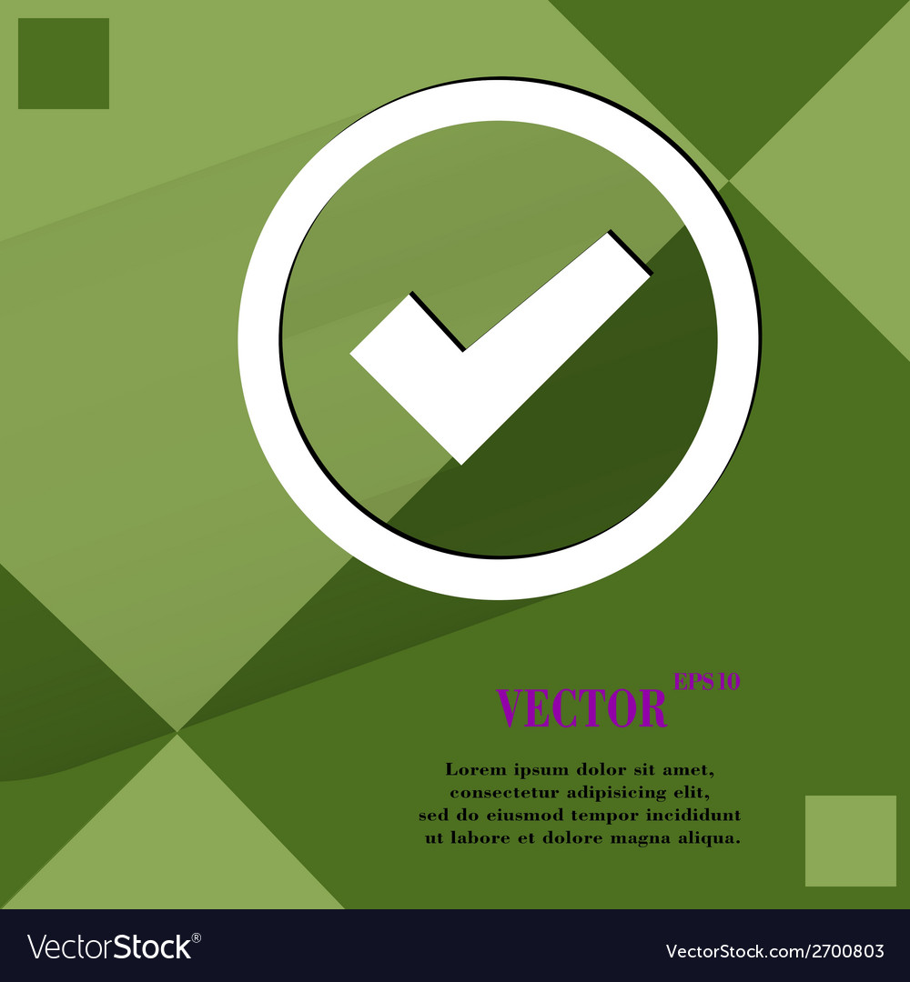 Check mark flat modern web design on a flat vector | Price: 1 Credit (USD $1)