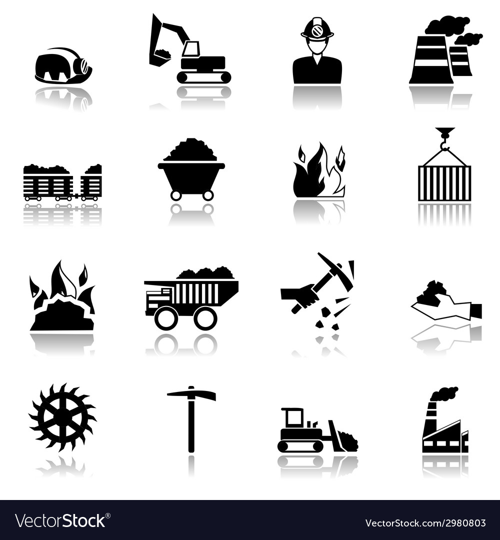Coal industry icons vector | Price: 1 Credit (USD $1)