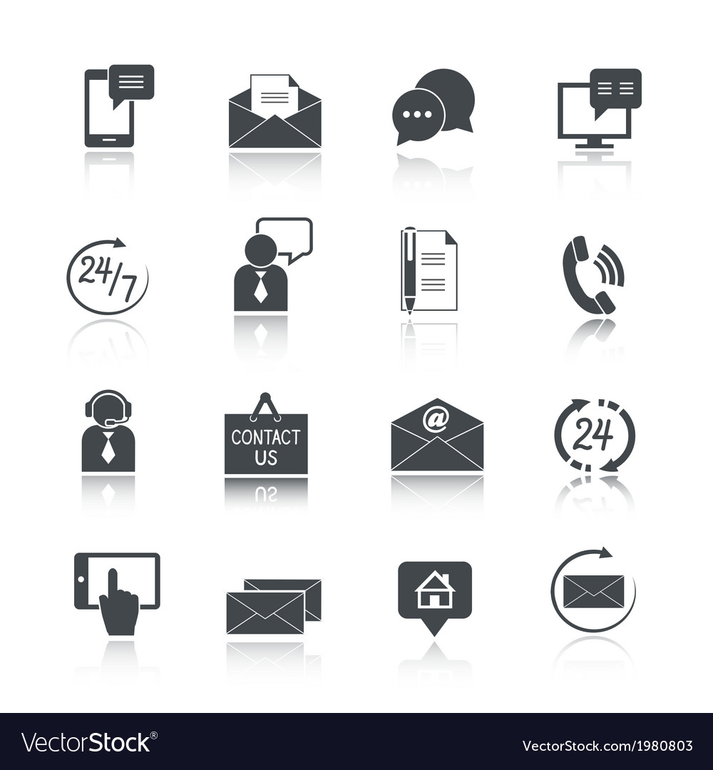 Contact us service icons set vector | Price: 1 Credit (USD $1)