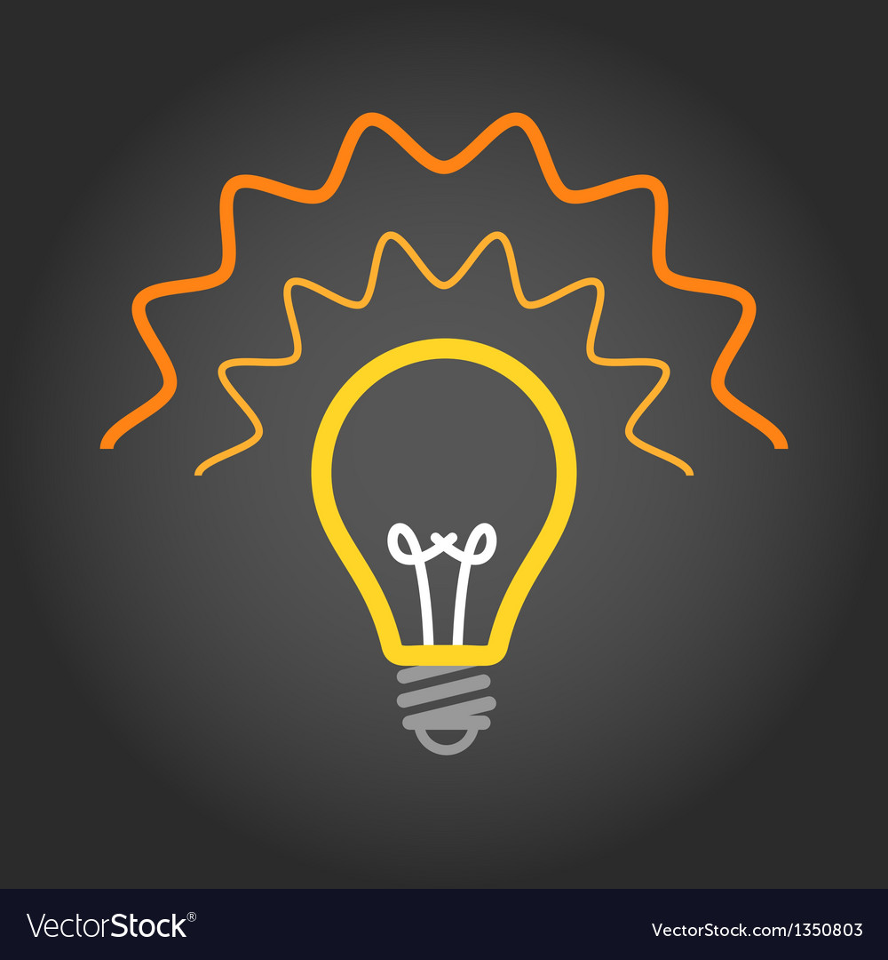 Lighting light bulb on dark background vector | Price: 1 Credit (USD $1)