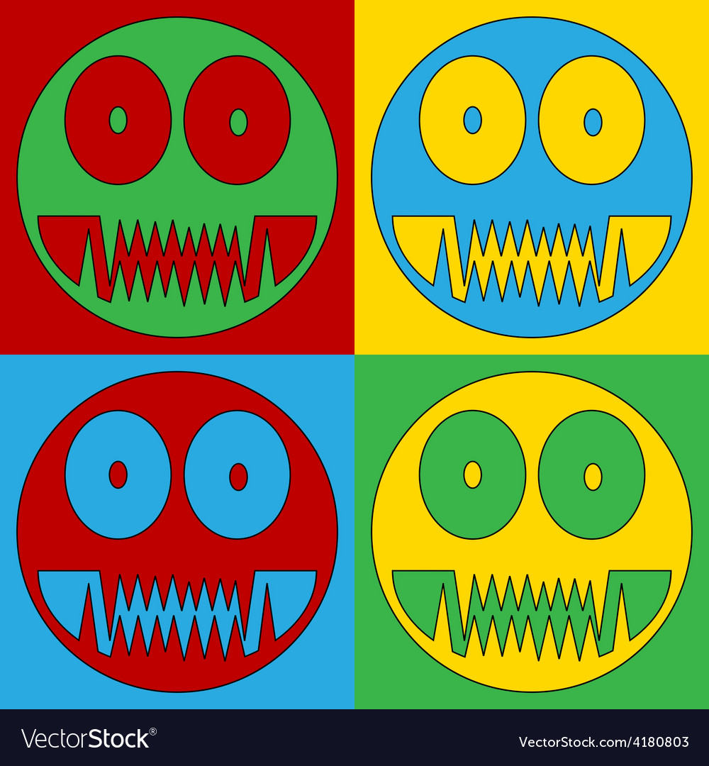 Pop art monster icons vector | Price: 1 Credit (USD $1)