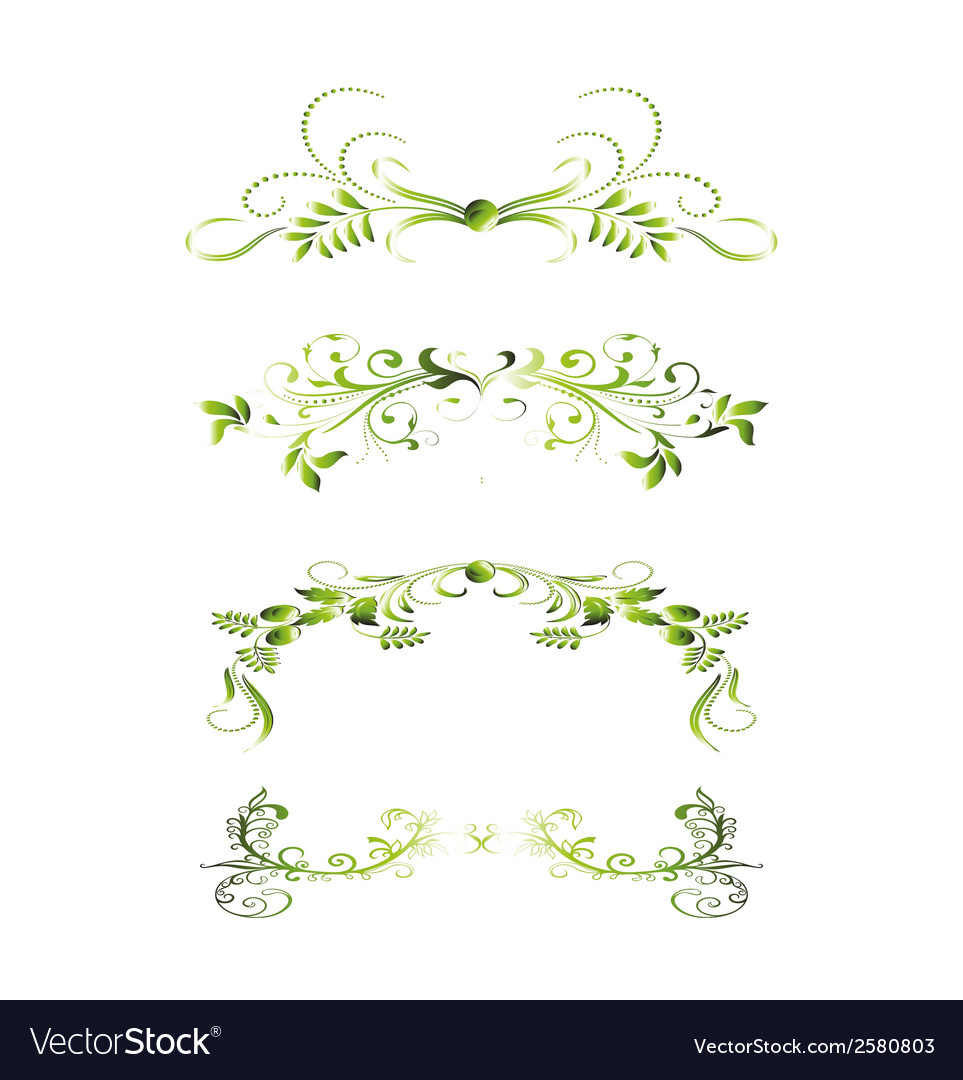 Set of green floral decoration elements vector | Price: 1 Credit (USD $1)