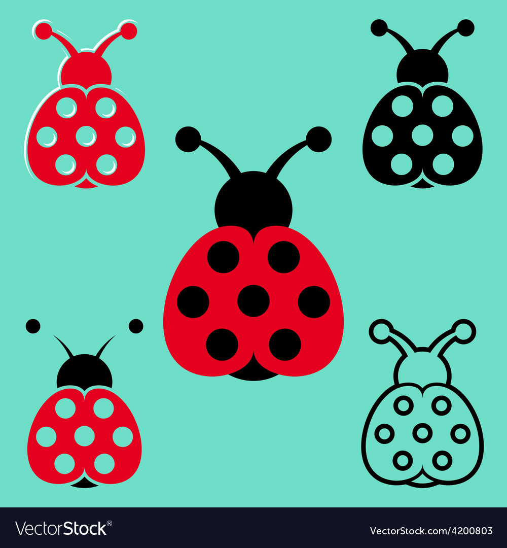 Seven spot ladybird icons vector | Price: 1 Credit (USD $1)