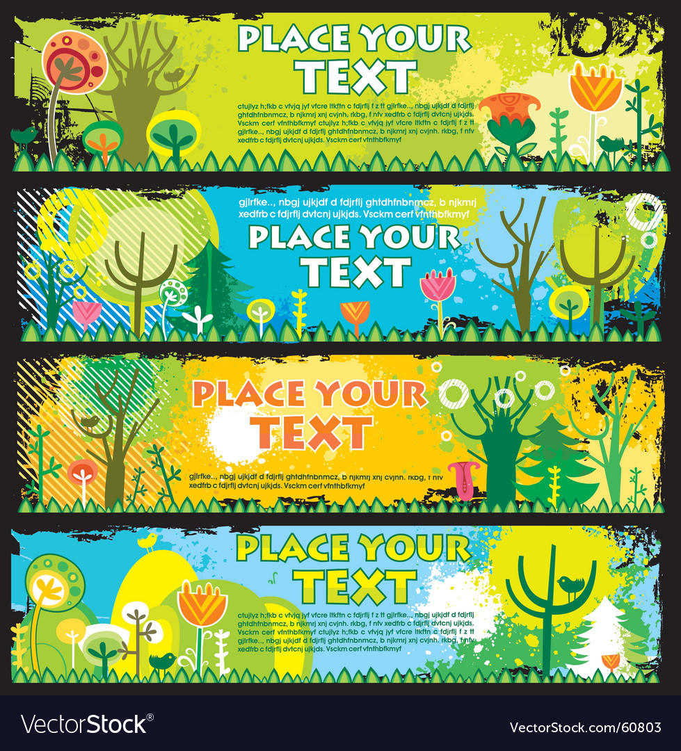 Spring banners with copyspace vector
