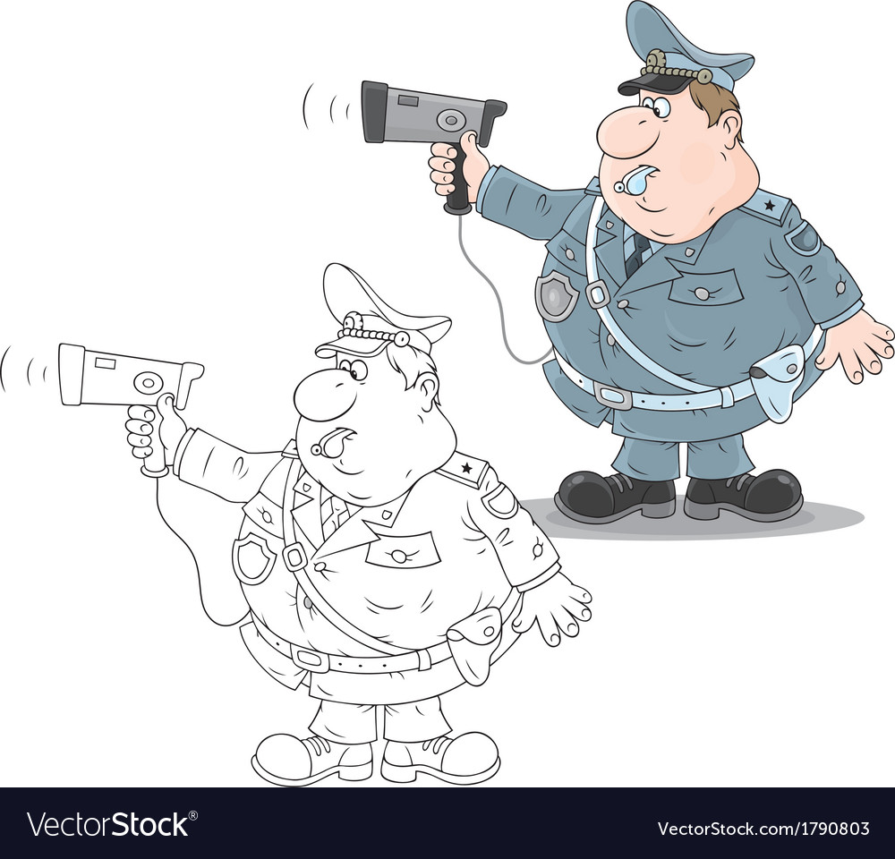 Traffic policeman with a radar vector | Price: 1 Credit (USD $1)