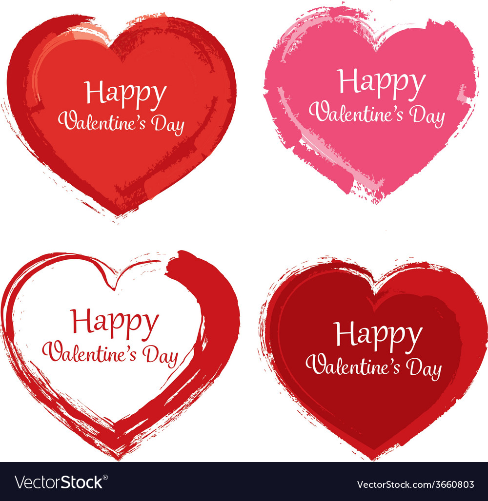 Valentine day symbol paint brush vector | Price: 1 Credit (USD $1)