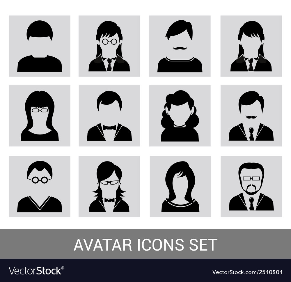 Black avatar icon set vector | Price: 1 Credit (USD $1)