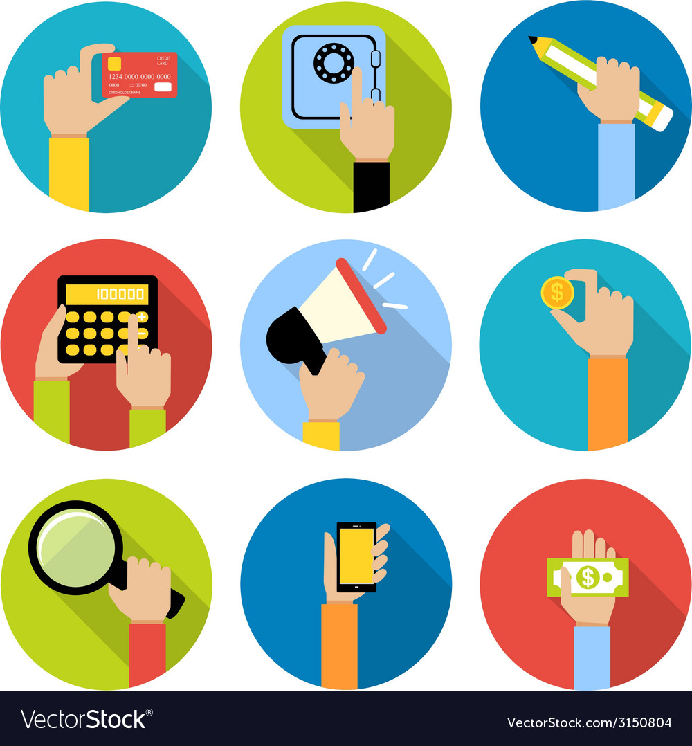 Business hands icons vector | Price: 1 Credit (USD $1)