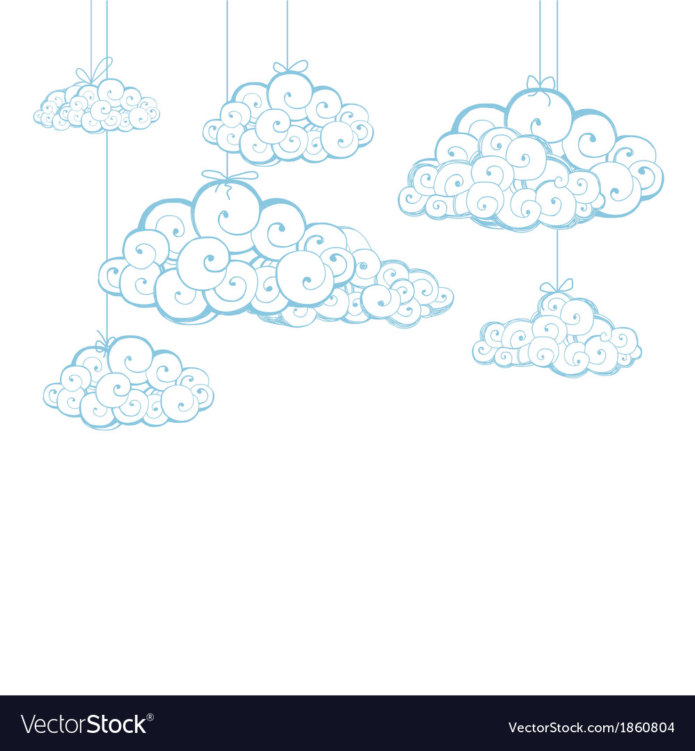 Decorative background with clouds sketch vector | Price: 1 Credit (USD $1)