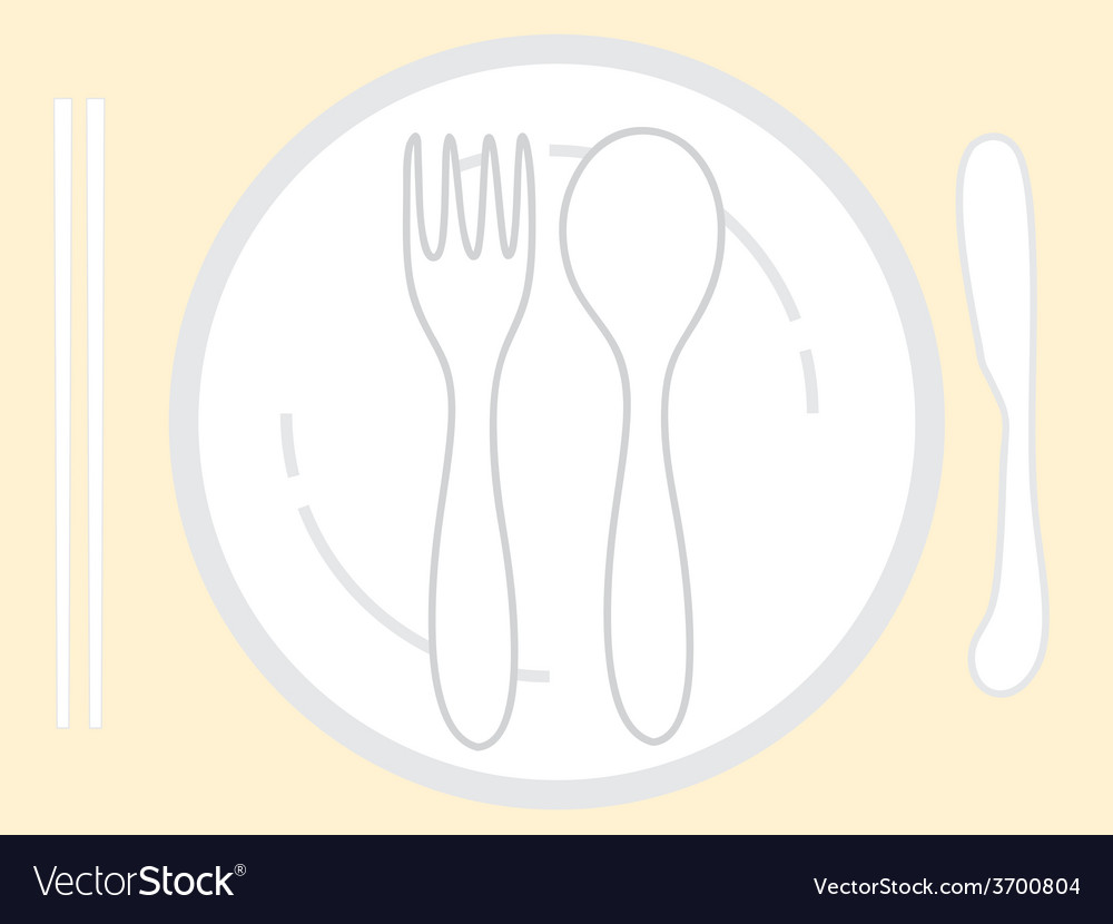 Empty plate with spoon chopsticks and knife fork vector | Price: 1 Credit (USD $1)