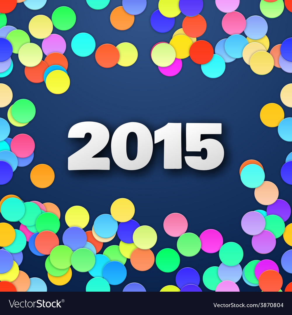 Happy 2015 new year with confetti vector | Price: 1 Credit (USD $1)