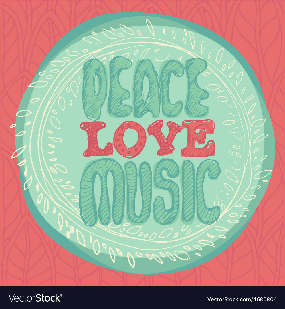 Peace love music emblem vector | Price: 1 Credit (USD $1)
