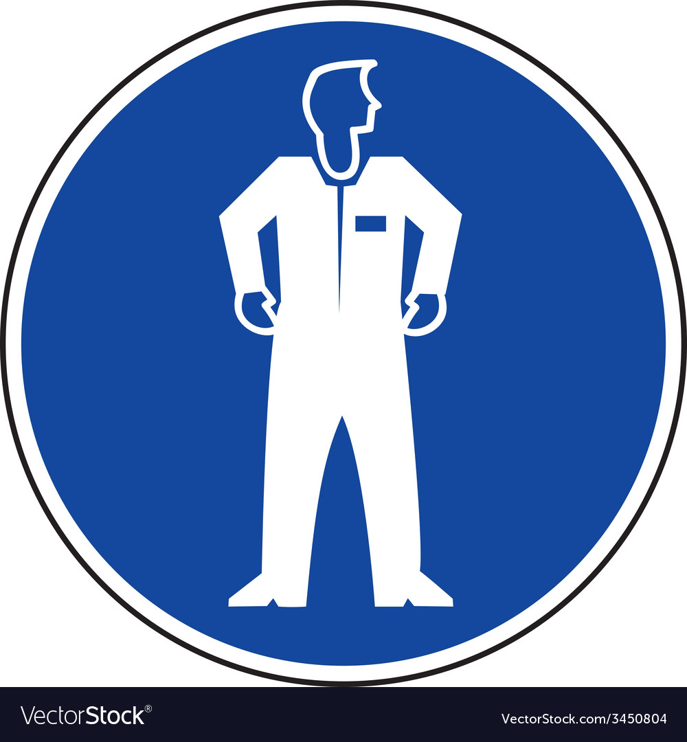 Protective clothing must be worn safety sign vector | Price: 1 Credit (USD $1)