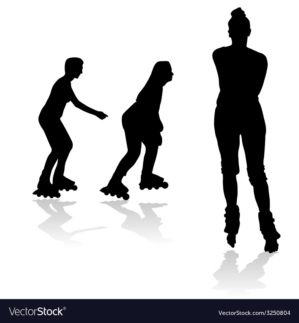 Recreation on rollerblades silhouette vector | Price: 1 Credit (USD $1)