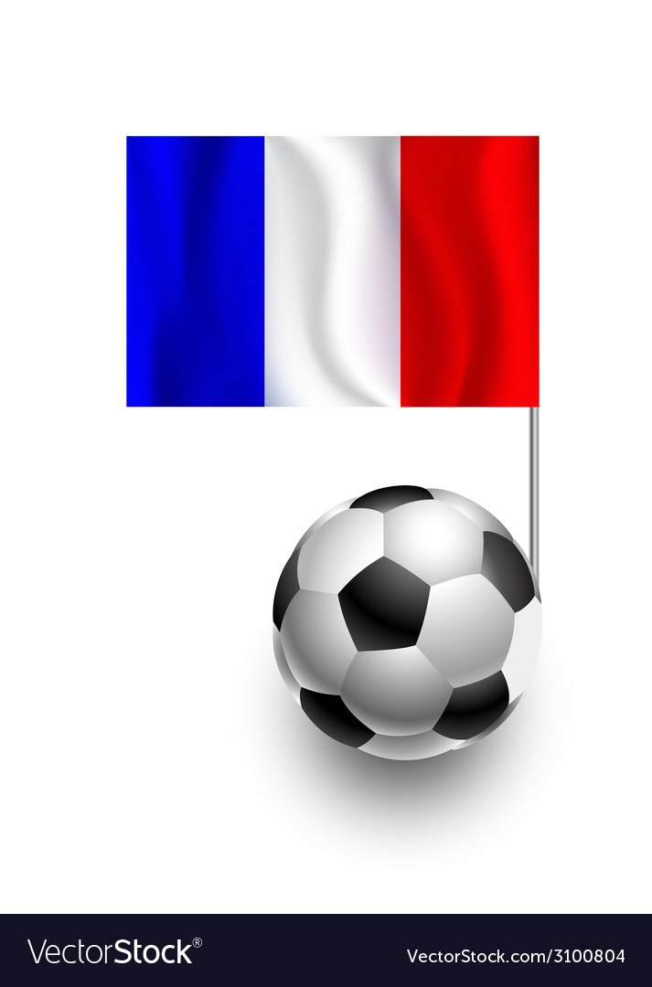 Soccer balls or footballs with flag of france vector | Price: 1 Credit (USD $1)