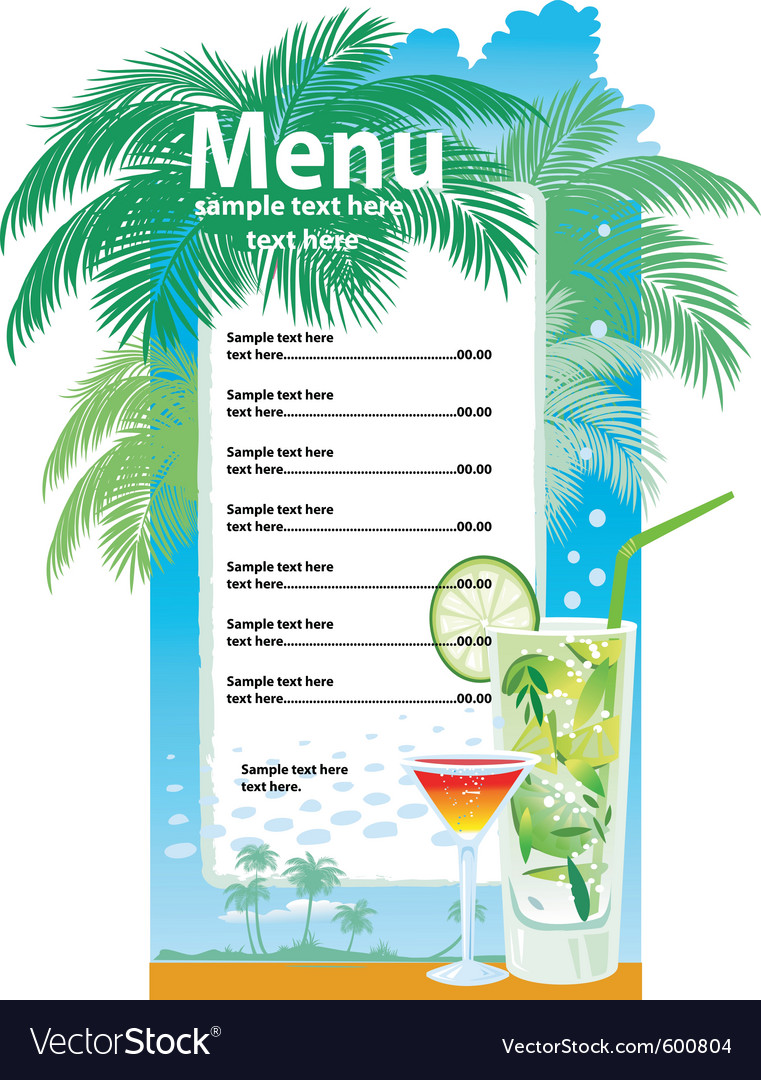 Template designs of cocktail menu vector | Price: 1 Credit (USD $1)