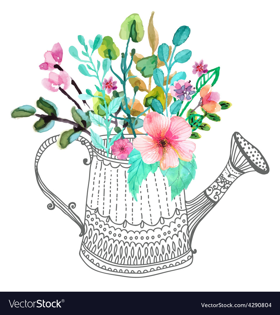 Watercolor flowers and doodle watering can vector | Price: 1 Credit (USD $1)