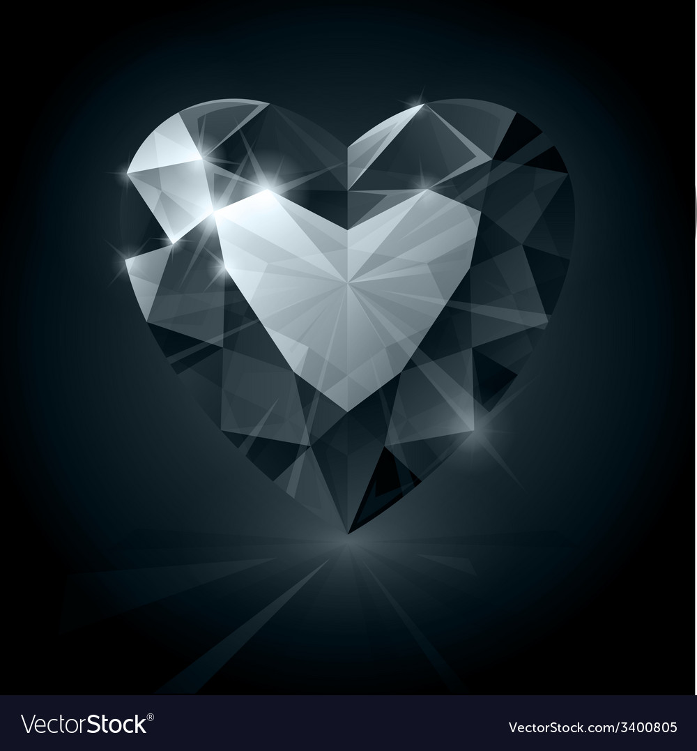 Black shiny diamond heart shape on black vector | Price: 1 Credit (USD $1)
