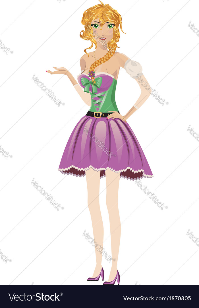 Blonde girl in spring dress vector | Price: 1 Credit (USD $1)