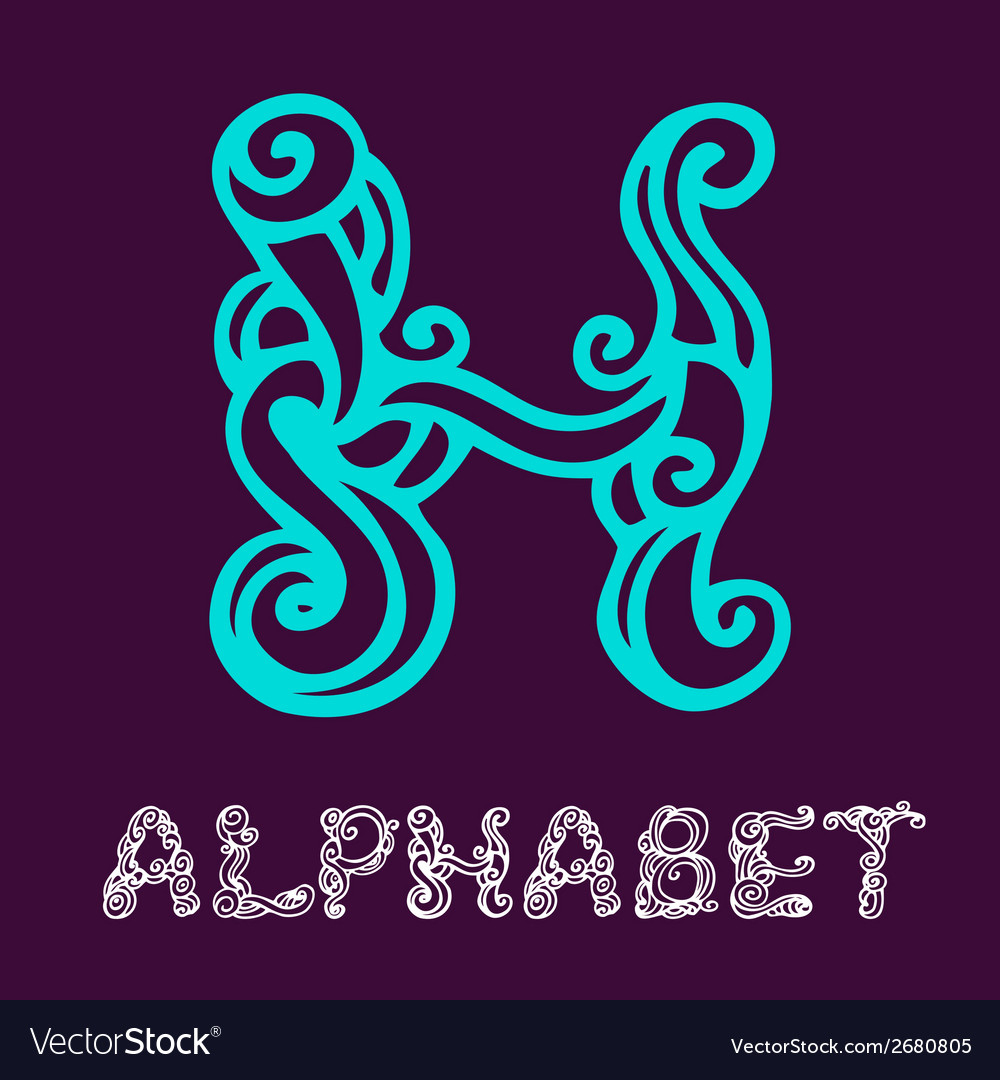 Doodle hand drawn sketch alphabet letter h vector | Price: 1 Credit (USD $1)