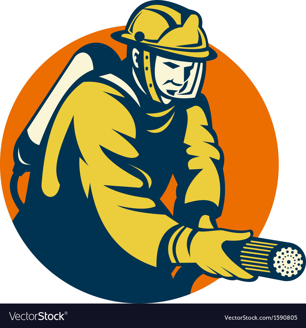 Firefighter or fireman aiming a fire hose vector | Price: 1 Credit (USD $1)