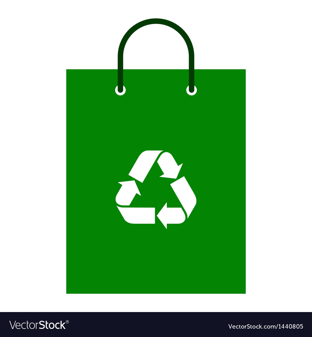 Green bag with recycle symbol vector | Price: 1 Credit (USD $1)