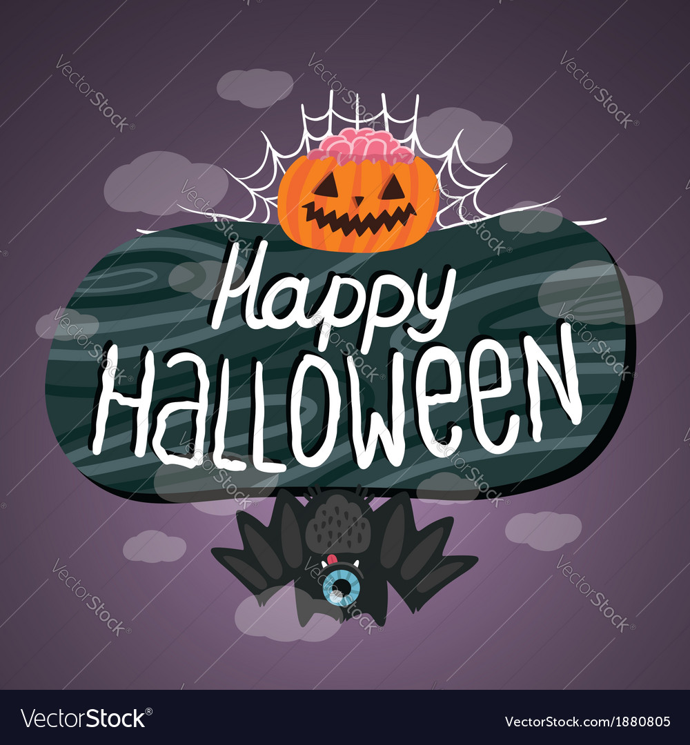 Happy halloween sign with pumpkin bat web vector | Price: 1 Credit (USD $1)