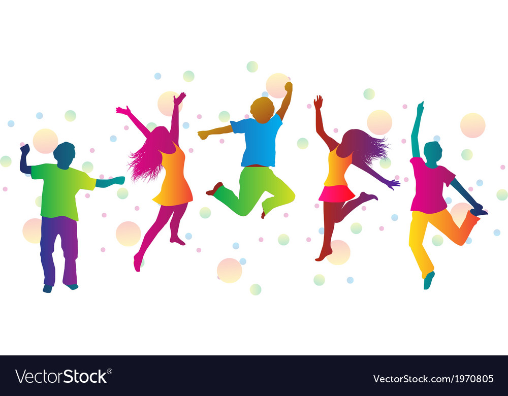 Jumping people and colored spots vector | Price: 1 Credit (USD $1)