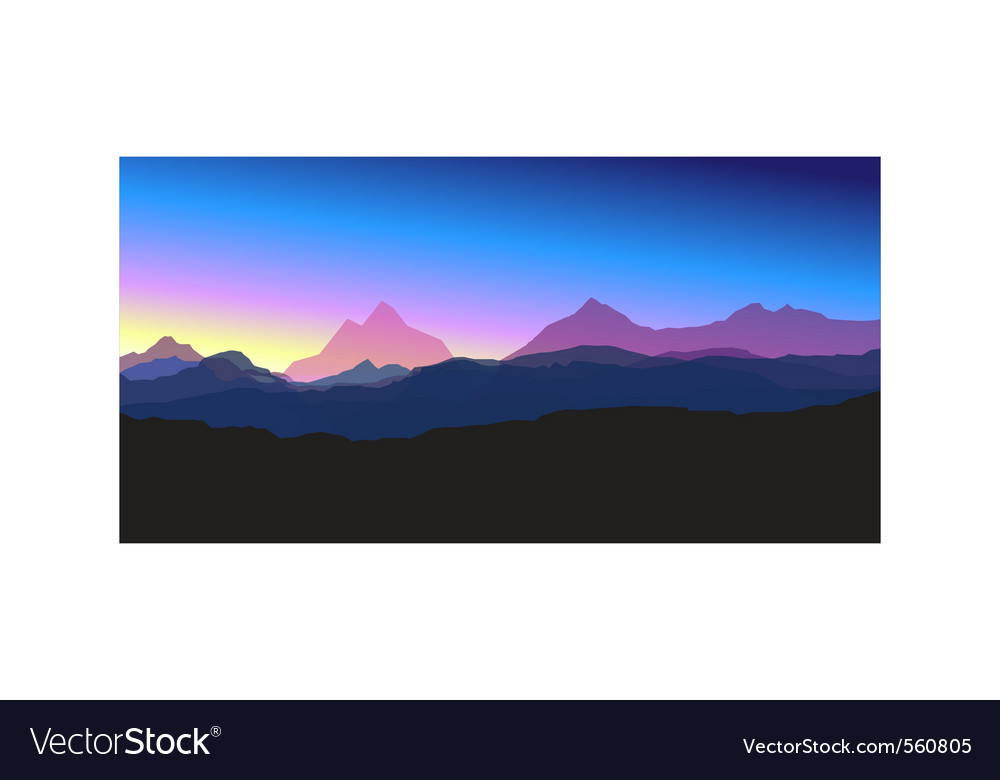 Mountains at sunset vector | Price: 1 Credit (USD $1)