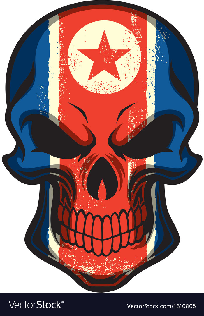 North korea flag painted on skull vector | Price: 1 Credit (USD $1)