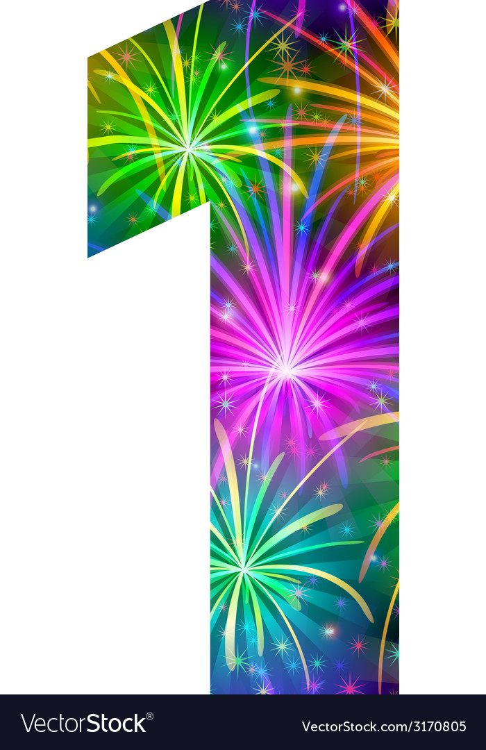 Number of colorful firework one vector | Price: 1 Credit (USD $1)