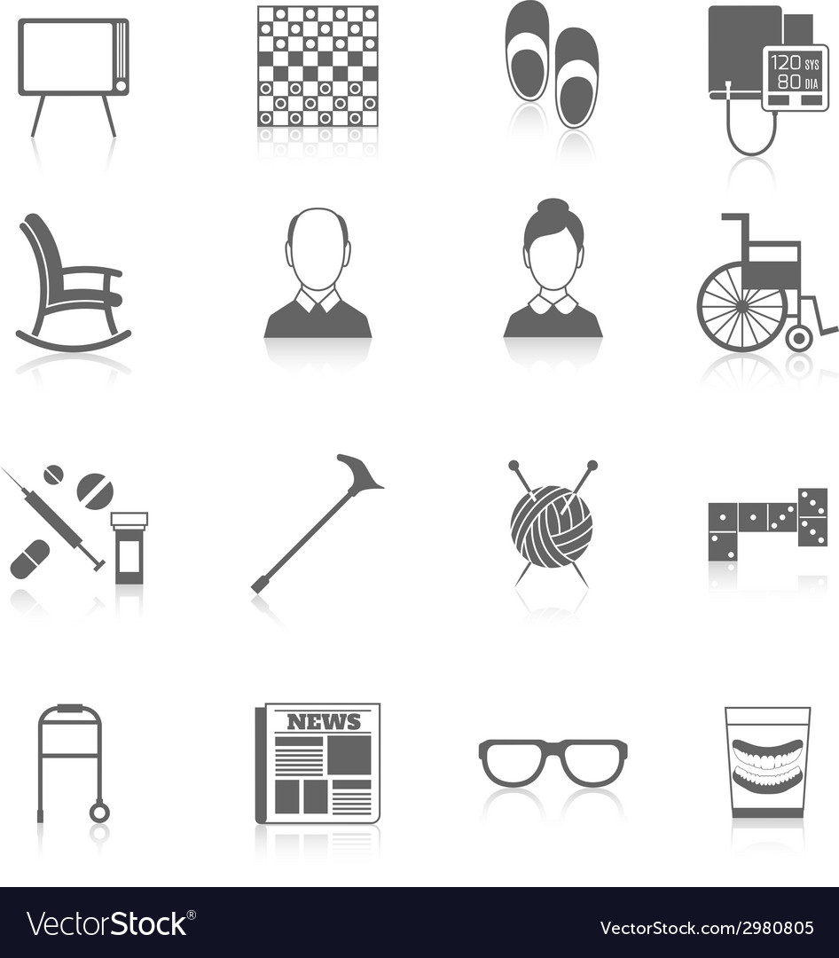 Pensioners life icons black vector | Price: 1 Credit (USD $1)