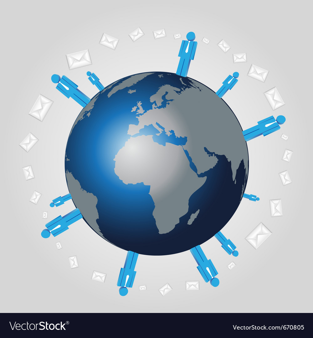 People sending email on the earth vector | Price: 1 Credit (USD $1)