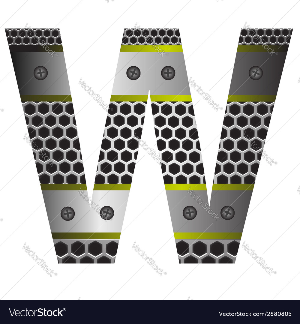 Perforated metal letter w vector | Price: 1 Credit (USD $1)