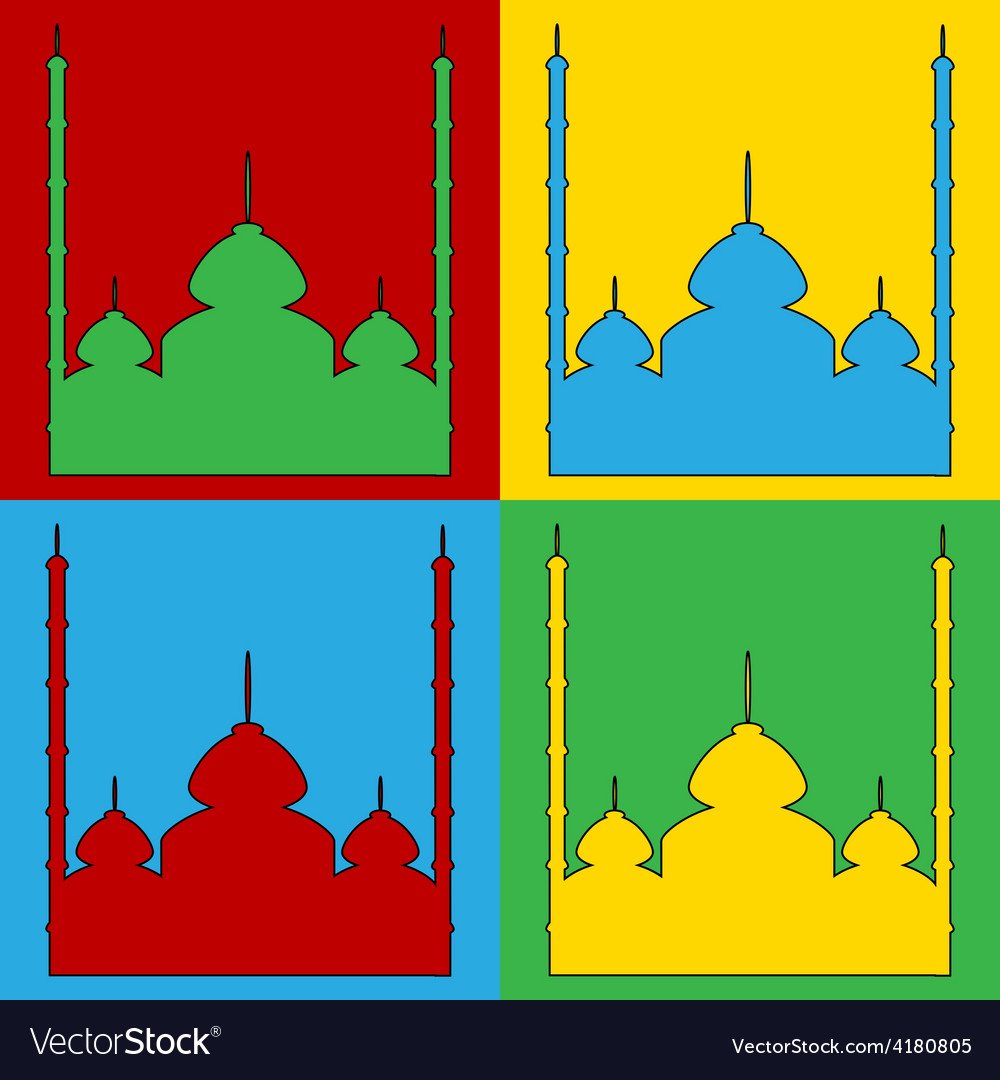 Pop art mosque icons vector | Price: 1 Credit (USD $1)
