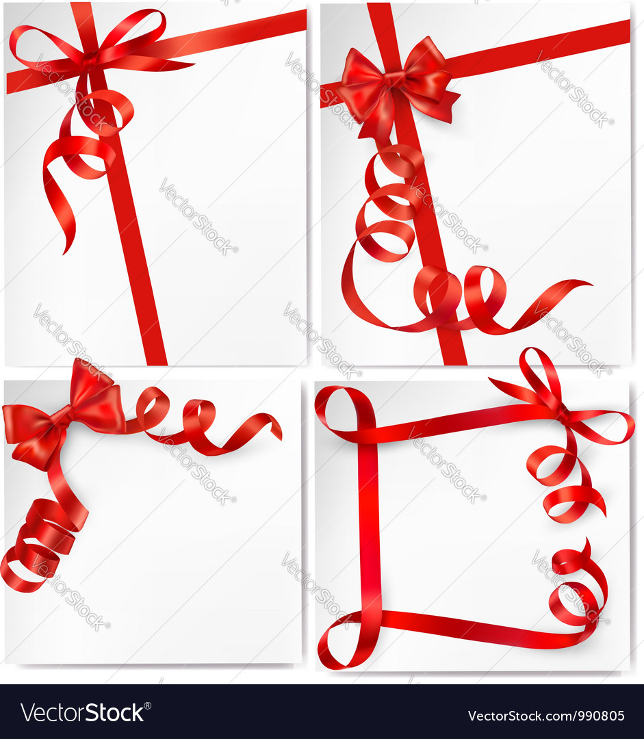 Set of holiday backgrounds with red bows and vector | Price: 1 Credit (USD $1)