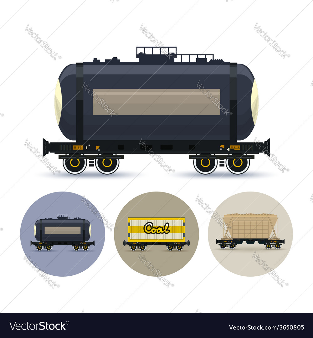 Set of icons of different types of freight cars vector | Price: 1 Credit (USD $1)