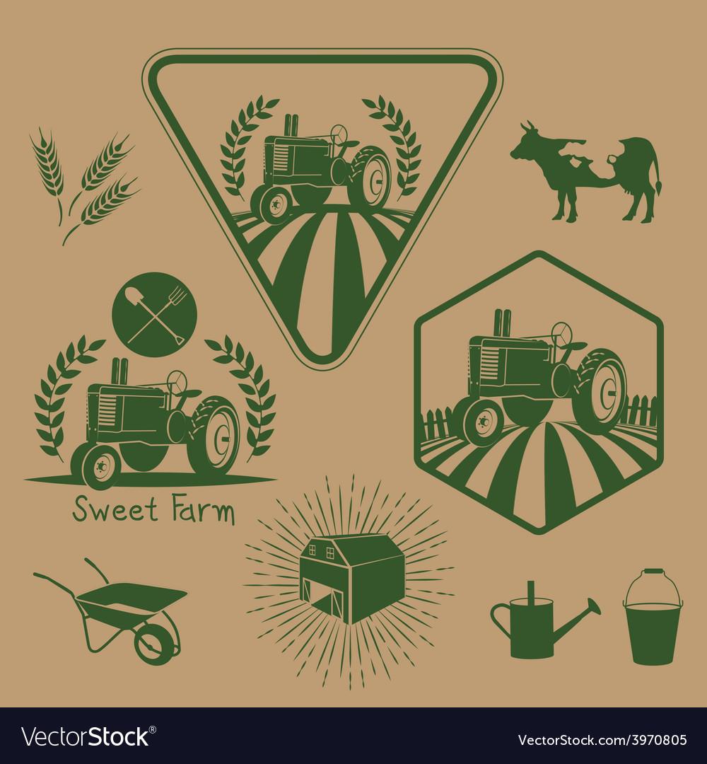 Set of retro farm labels vector | Price: 1 Credit (USD $1)