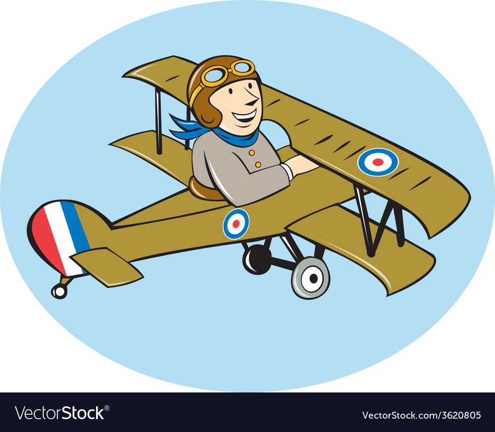 Sopwith camel scout airplane cartoon vector | Price: 1 Credit (USD $1)