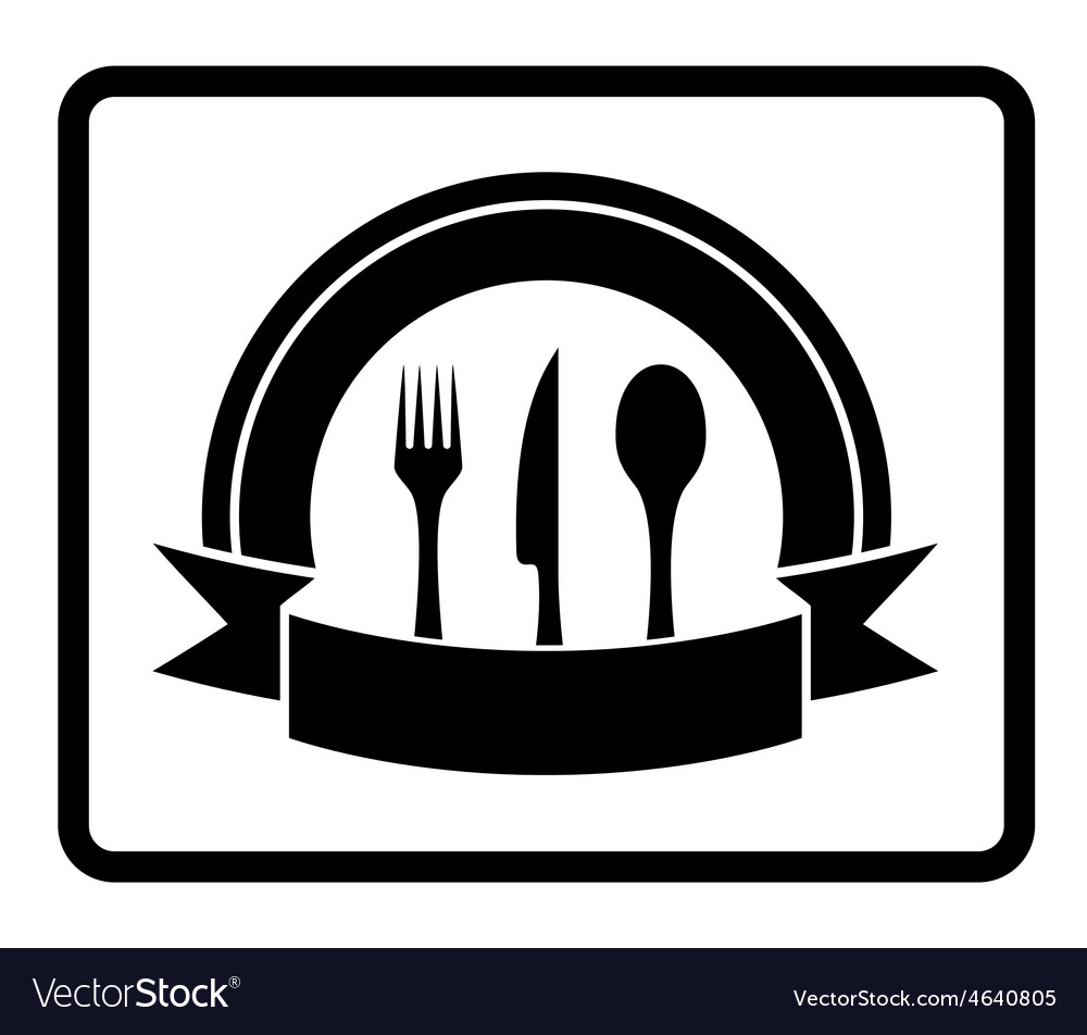 Spoon knife fork on black icon vector | Price: 1 Credit (USD $1)