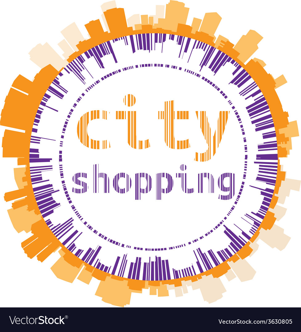 Stylized label city shopping vector | Price: 1 Credit (USD $1)