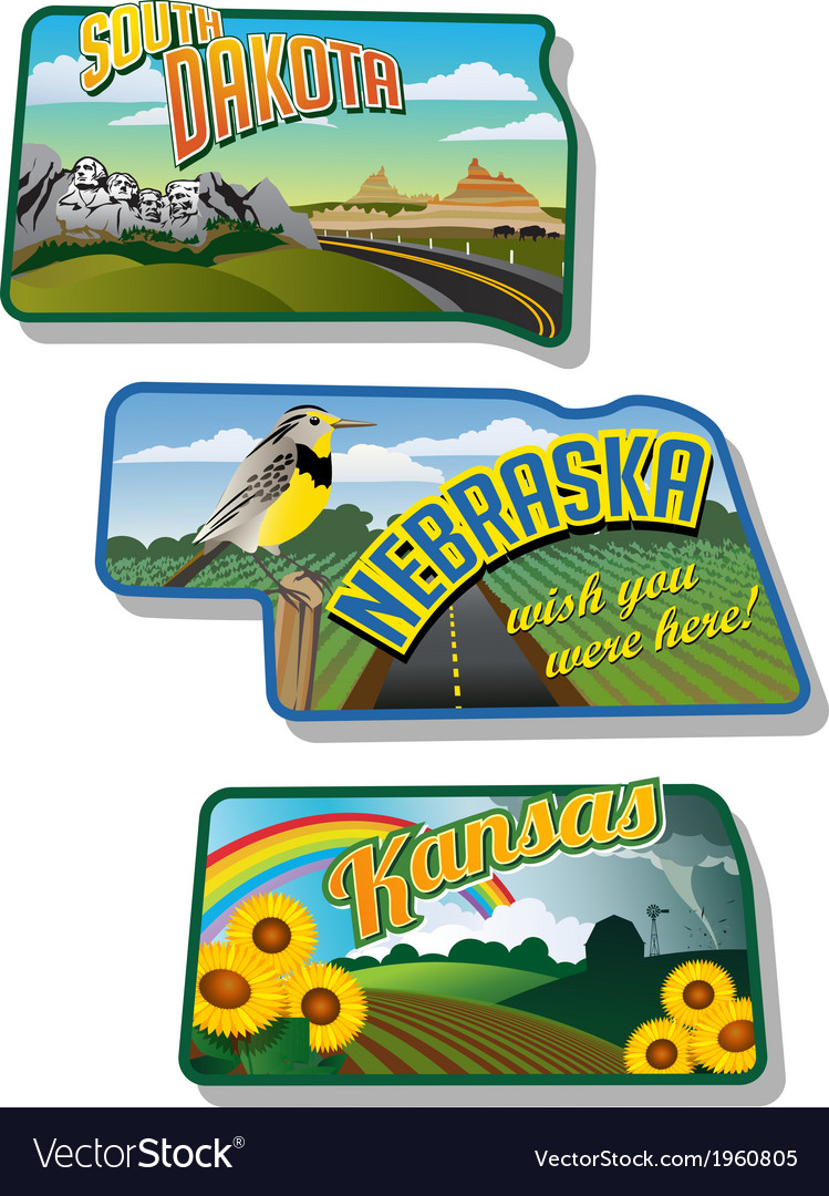 Suitcase stickers south dakota nebraska kansas vector