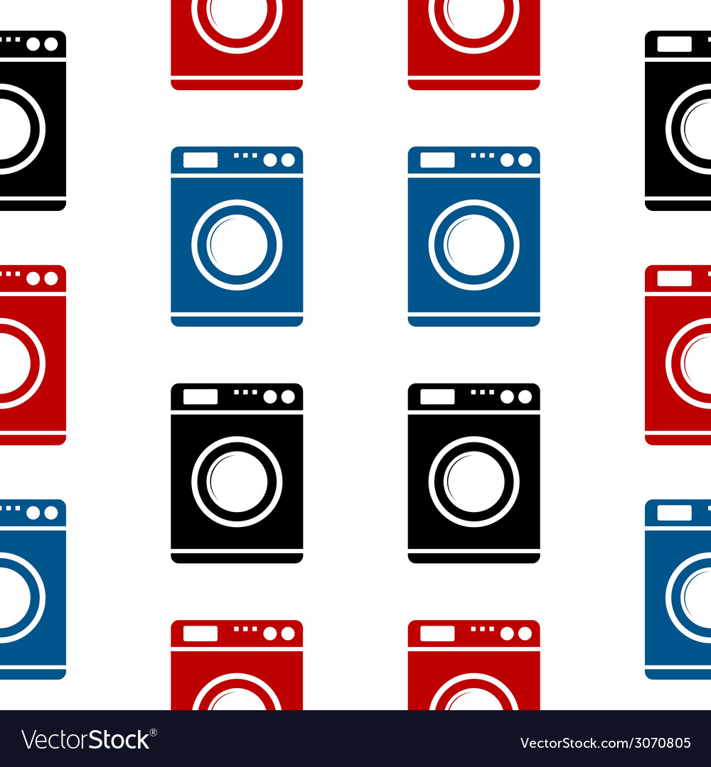 Washing machine symbol seamless pattern vector | Price: 1 Credit (USD $1)