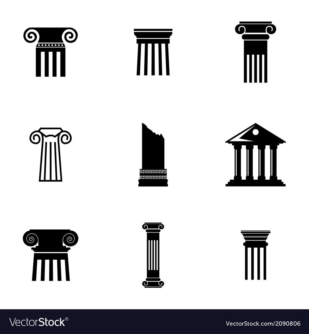 Black column icons set vector | Price: 1 Credit (USD $1)